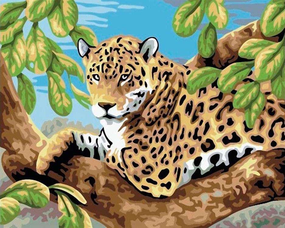 Картина по номерам «Леопард на ветвях»Раскраски по номерам Color Kit<br><br><br>Артикул: CG504<br>Основа: Холст<br>Сложность: средние<br>Размер: 40x50 см<br>Количество цветов: 19<br>Техника рисования: Без смешивания красок