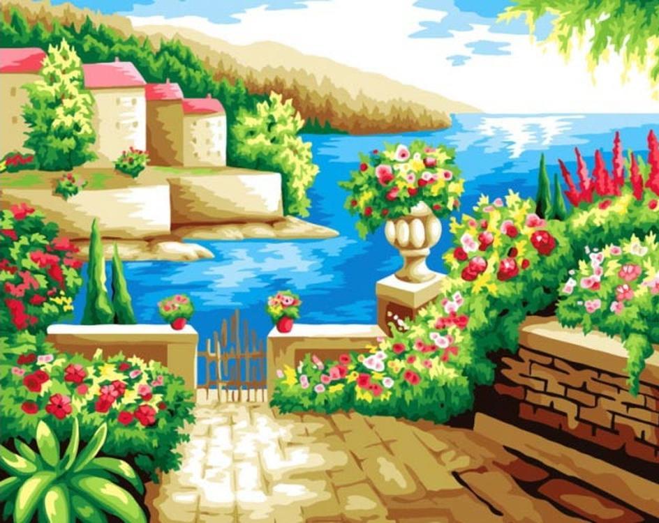 Алмазная вышивка «Средиземноморский пейзаж»Алмазная вышивка Color Kit (Колор Кит)<br><br><br>Артикул: CKC033<br>Основа: Холст на подрамнике<br>Сложность: сложные<br>Размер: 40x50 см<br>Выкладка: Полная<br>Количество цветов: 23