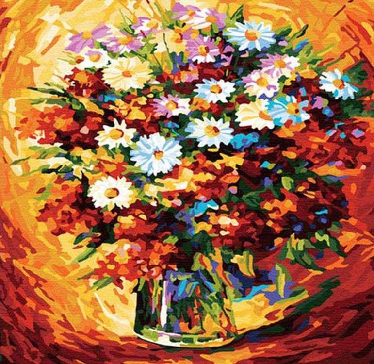 Картина по номерам «Букет с ромашками» Леонида АфремоваРаскраски по номерам<br><br>