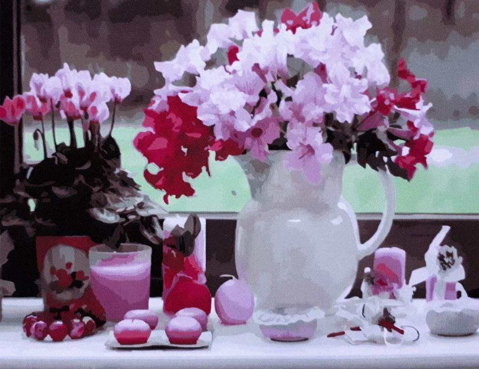Картина по номерам «Цветы в вазе»Paintboy (Premium)<br><br><br>Артикул: GX21081<br>Основа: Холст<br>Сложность: сложные<br>Размер: 40x50 см<br>Количество цветов: 28<br>Техника рисования: Без смешивания красок