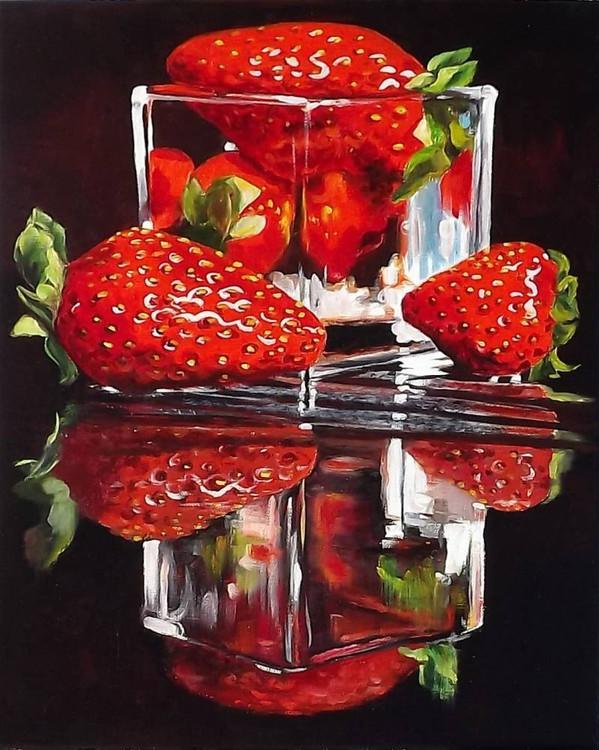 Картина по номерам «Клубника в стакане»Раскраски по номерам Paintboy (Original)<br><br><br>Артикул: GX4354_R<br>Основа: Холст<br>Размер: 40x50 см<br>Количество цветов: 24-30<br>Техника рисования: Без смешивания красок