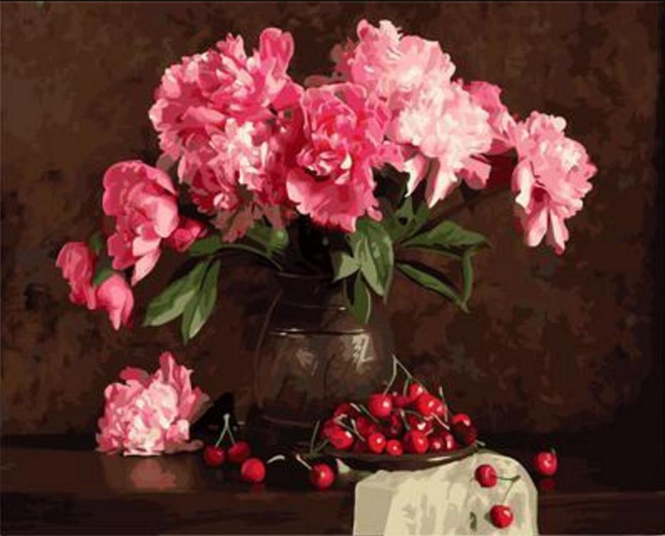 Картина по номерам «Пионы и вишни»Paintboy (Premium)<br><br><br>Артикул: GX4645<br>Основа: Холст<br>Размер: 40x50 см<br>Количество цветов: 29<br>Техника рисования: Без смешивания красок