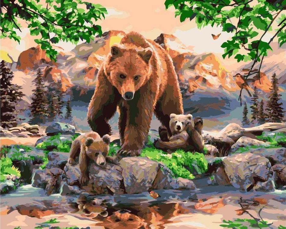 Картина по номерам «Мама медведица»Раскраски по номерам Paintboy (Original)<br><br><br>Артикул: GX7053_R<br>Основа: Холст<br>Размер: 40x50 см<br>Количество цветов: 28<br>Техника рисования: Без смешивания красок
