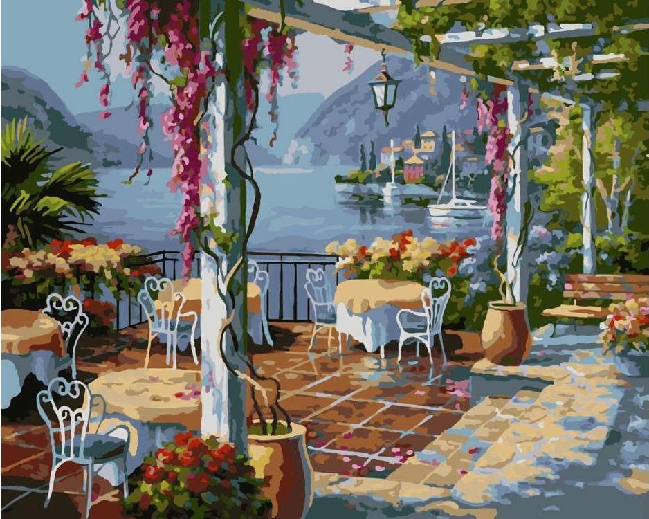 Картина по номерам «Кафе над морем»Paintboy (Premium)<br><br><br>Артикул: GX8846<br>Основа: Холст<br>Размер: 40x50 см<br>Количество цветов: 24-30<br>Техника рисования: Без смешивания красок