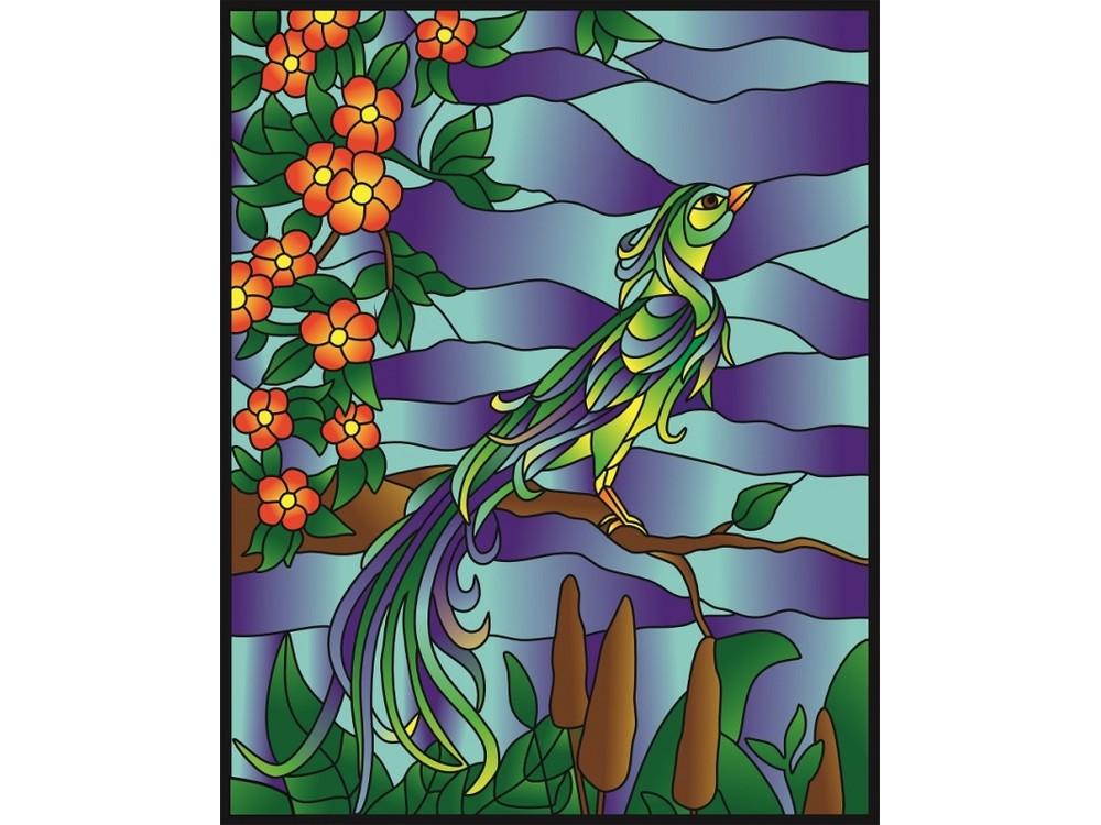 Витраж-раскраска «Райская птица»Color KIT<br>Витраж-раскраска – новый вид раскрасок для взрослых. В комплектации набора предусмотрено все, что может понадобиться при создании уникального произведения искусства.<br> Основа этой раскраски – стекло, обрамленное в багетную раму. Расписывать витраж достато...<br><br>Артикул: HG011<br>Основа: стекло в багетной раме<br>Размер: 43x53 см<br>Количество цветов: 6-8
