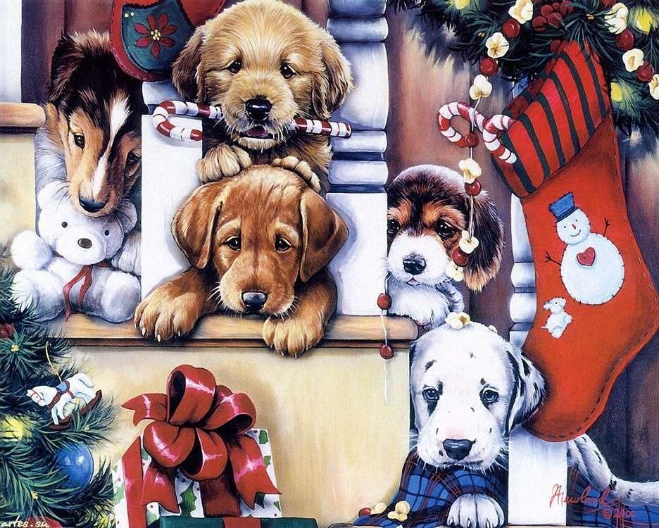 Картина по номерам «С Новым годом, друзья!»Раскраски по номерам Color Kit<br>Милые щенки умиляют детей и взрослых. Перед вами картина, на которой множество очаровательных малышей играется с новогодними и рождественскими декорациями. Эти шалуны балуются, но разве можно на них сердиться? Картина полна доброты и радости, она поможет ...<br>