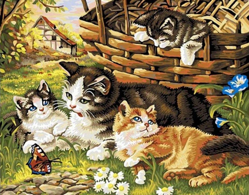 Картина по номерам «Семейство кошачьих»Раскраски по номерам Color Kit<br><br><br>Артикул: KS010<br>Основа: Картон<br>Сложность: сложные<br>Размер: 30x40 см<br>Количество цветов: 16<br>Техника рисования: Без смешивания красок