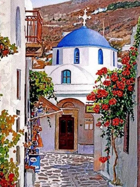 Картина по номерам «Солнечный Санторини» Пантелиса Зографоса