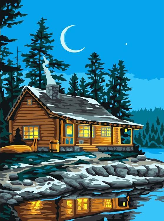 Картина по номерам «Рыбацкий домик»