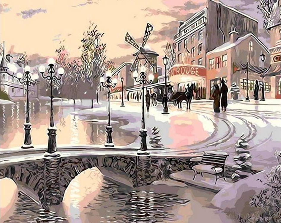 Картина по номерам «Париж в снегу» Кена ШотвелаРаскраски по номерам Menglei (Standart)<br><br><br>Артикул: MG6023_S<br>Основа: Холст<br>Сложность: сложные<br>Размер: 40x50 см<br>Количество цветов: 24-30<br>Техника рисования: Без смешивания красок