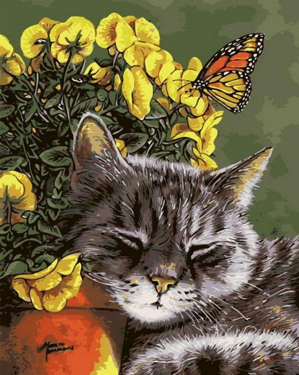 Картина по номерам «Спящий кот» Мэрилин БеркхаузРаскраски по номерам Menglei (Standart)<br><br><br>Артикул: MG6730_S<br>Основа: Холст<br>Сложность: сложные<br>Размер: 40x50 см<br>Количество цветов: 24-30<br>Техника рисования: Без смешивания красок