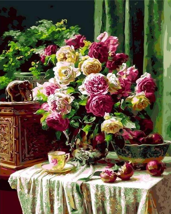 Картина по номерам «Натюрморт с розами» Энн МортонРаскраски по номерам Menglei (Standart)<br><br><br>Артикул: MG7967_S<br>Основа: Холст<br>Сложность: сложные<br>Размер: 40x50 см<br>Количество цветов: 24-30<br>Техника рисования: Без смешивания красок
