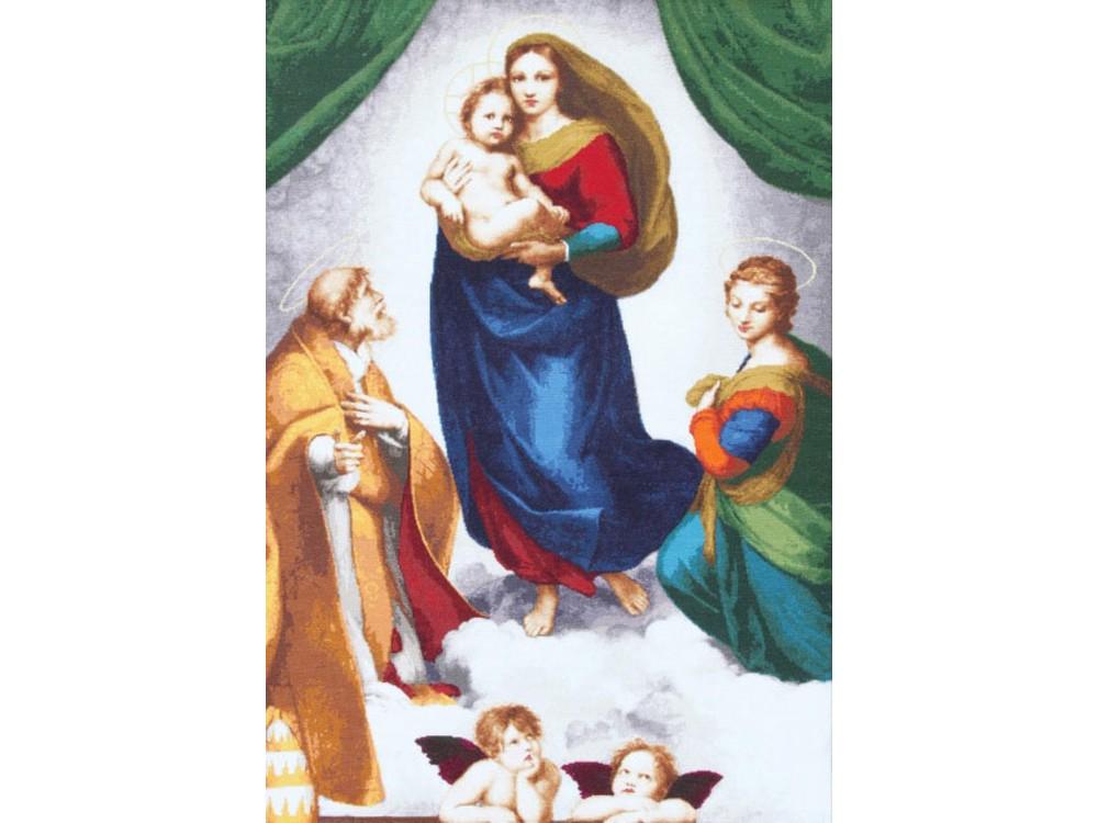 Набор для вышивания «Сикстинская Мадонна» по мотивам картины Рафаэля СантиВышивка крестом Золотое Руно<br><br><br>Артикул: МК-044<br>Основа: канва Aida 18<br>Размер: 84x57,5 см<br>Техника вышивки: счетный крест<br>Тип схемы вышивки: Черно-белая схема<br>Цвет канвы: Кремовый<br>Количество цветов: 69<br>Заполнение: Полное<br>Рисунок на канве: не нанесён<br>Техника: Вышивка крестом