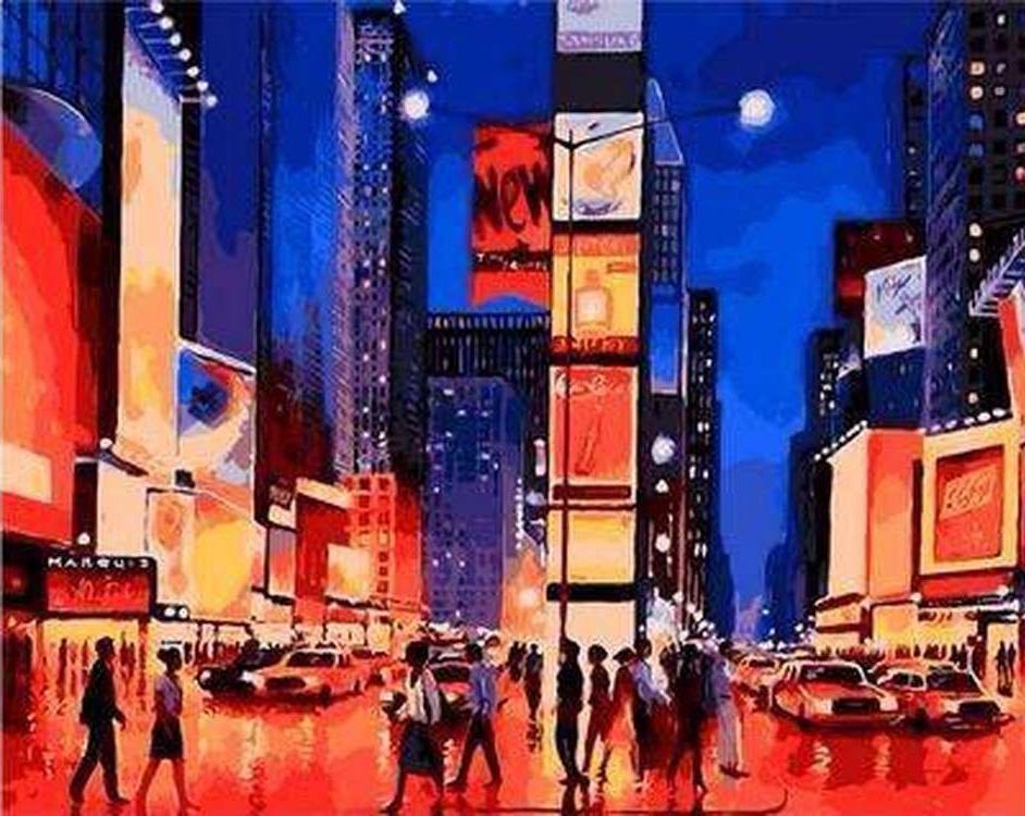 Картина по номерам «Таймс сквер»Paintboy (Premium)<br><br><br>Артикул: Q888<br>Основа: Холст<br>Сложность: средние<br>Размер: 40x50 см<br>Количество цветов: 20-25<br>Техника рисования: Без смешивания красок