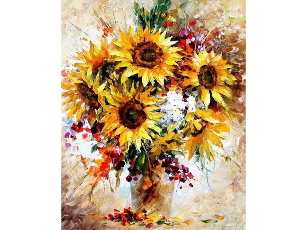 Алмазная картина-раскраска «Солнечный букет» Леонида Афремова