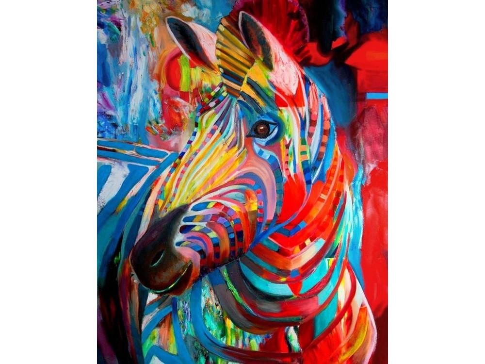 Алмазная картина-раскраска «Радужная зебра» Роберта Доэсбурга
