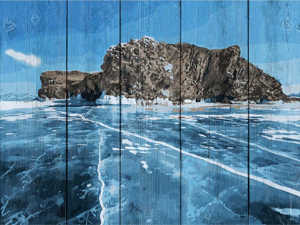 Купить Картина по номерам по дереву Dali «Байкальский лед»