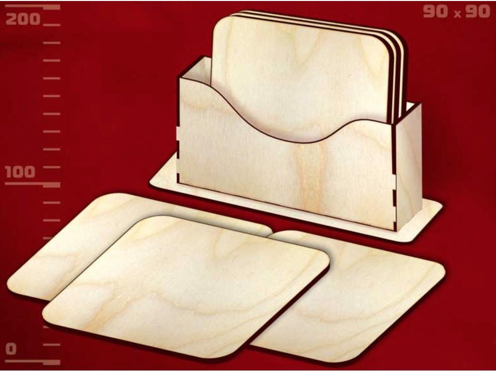 Деревянные заготовки для эбру - подставки под горячее Квадрат 2 (набор), Integra Art