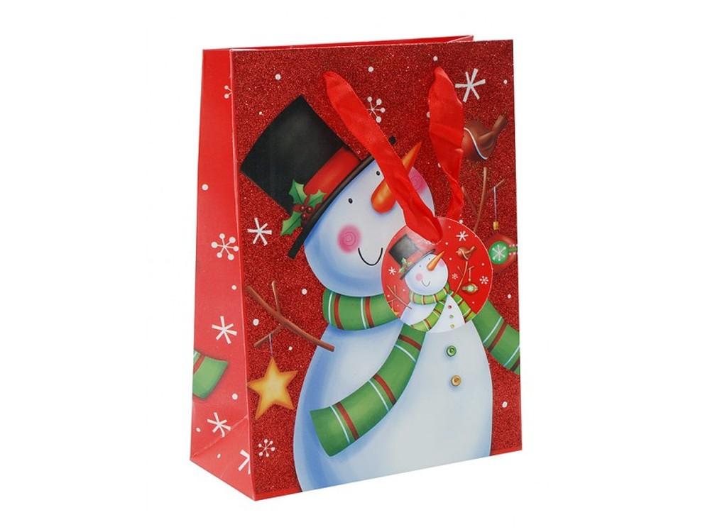 Подарочный пакет «Веселый снеговик»Подарочные пакеты<br>Оригинальный подарочный пакет станет прекрасным дополнением для вашего подарка. Пакет выполнен из качественной плотной бумаги с хорошей печатью. Толщина бумаги: 210 г /м2.<br>