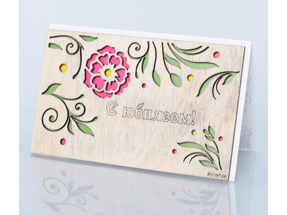 Деревянная открытка «С юбилеем»Деревянные открытки<br>Деревянные открытки и денежные конверты - прекрасная возможность сделать яркий подарок для тех, кто ценит оригинальность, однако не забывает о традициях. И креативность такого презента заключена не только в необычной деревянной первой странице, ведь в...<br>