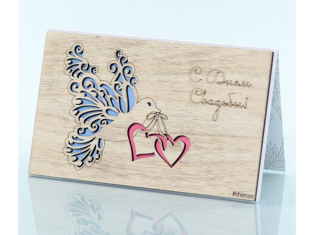 Деревянная открытка «Голубь и сердца»Деревянные открытки<br>Деревянные открытки и денежные конверты - прекрасная возможность сделать яркий подарок для тех, кто ценит оригинальность, однако не забывает о традициях. И креативность такого презента заключена не только в необычной деревянной первой странице, ведь в...<br><br>Артикул: 4.5.1<br>Размер см: 16x10,6<br>Материал: Дерево, бумага<br>Упаковка: прозрачная полиэтиленовая пленка-конверт