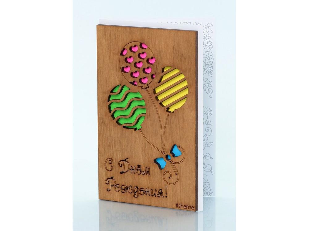 Открытка «Три шарика»Деревянные открытки<br>Деревянные открытки и денежные конверты - прекрасная возможность сделать яркий подарок для тех, кто ценит оригинальность, однако не забывает о традициях. И креативность такого презента заключена не только в необычной деревянной первой странице, ведь в...<br><br>Артикул: 5.4.3<br>Размер см: 12,5x8<br>Материал: Дерево, бумага<br>Упаковка: прозрачная полиэтиленовая пленка-конверт