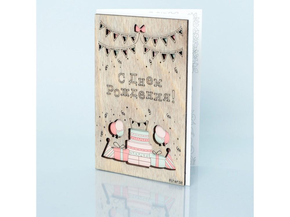 Деревянная открытка «Вкусный тортик»Деревянные открытки<br>Деревянные открытки и денежные конверты - прекрасная возможность сделать яркий подарок для тех, кто ценит оригинальность, однако не забывает о традициях. И креативность такого презента заключена не только в необычной деревянной первой странице, ведь в...<br><br>Артикул: 6.4.2<br>Размер см: 16x10,6<br>Материал: Дерево, бумага<br>Упаковка: прозрачная полиэтиленовая пленка-конверт