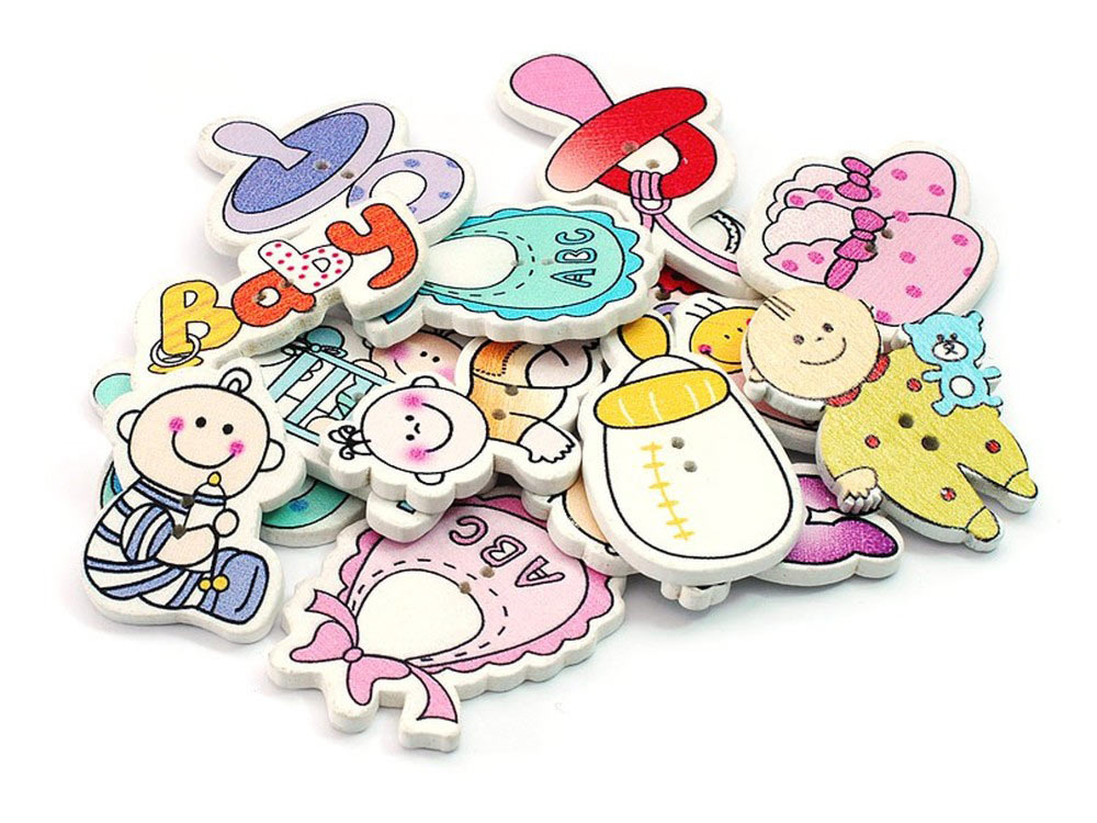 Пуговицы декоративные МалышиБумага и материалы для скрапбукинга<br>Набор декоративных пуговиц прекрасно подойдет для украшения детской одежды, одежды для кукол или же при создании композиций в стиле скрапбукинг или кардмейкинг. В наборы входят пуговицы различных цветов и размеров.<br><br>Артикул: 886-DB<br>Размер: 2x3 см<br>Количество: 15 шт.<br>Материал: Дерево