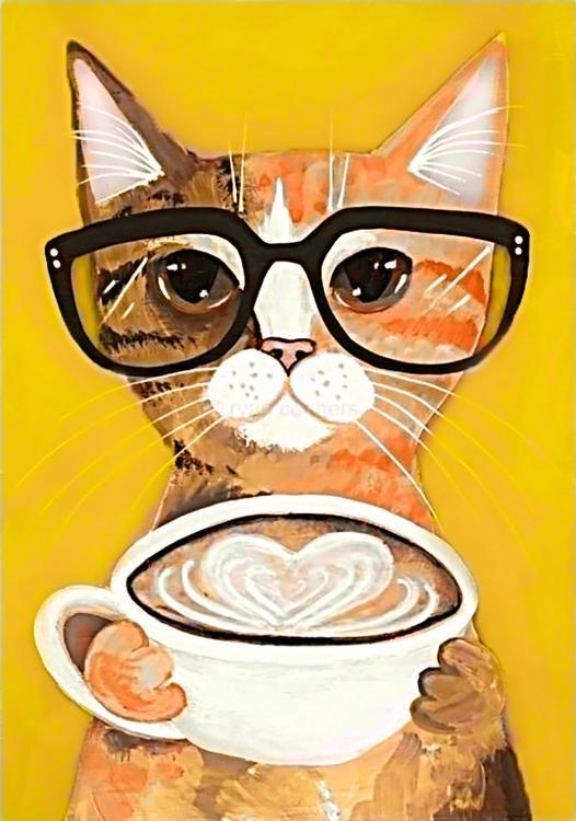 Алмазная вышивка «Кофе-котик»Алмазная вышивка Гранни<br><br><br>Артикул: Ag163<br>Основа: Холст без подрамника<br>Сложность: средние<br>Размер: 19x27 см<br>Выкладка: Полная<br>Количество цветов: 20<br>Тип страз: Квадратные