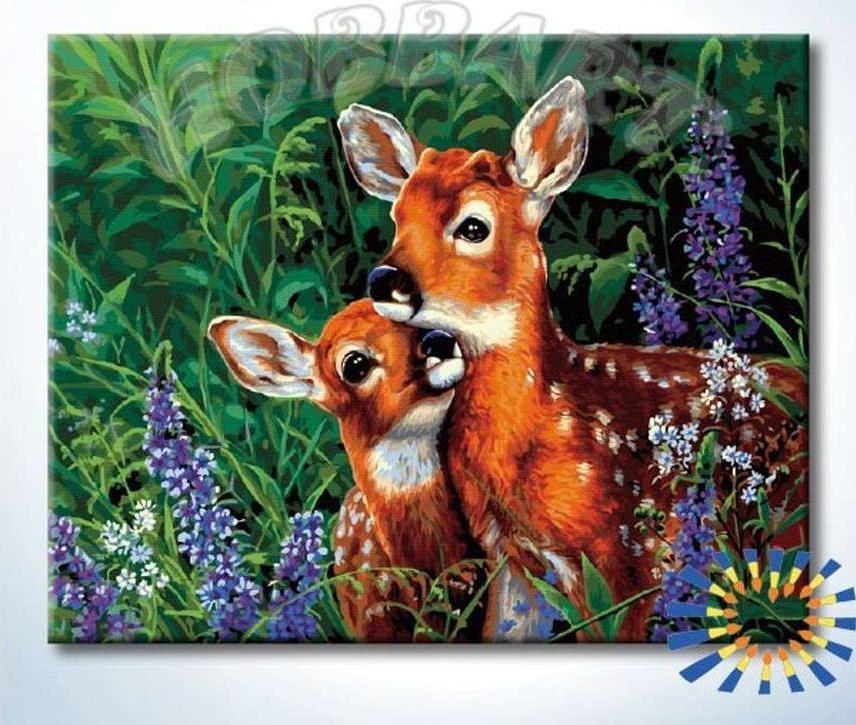 Картина по номерам «Лесное семейство»Hobbart<br><br><br>Артикул: DZ4050049-Lite<br>Основа: Цветной холст<br>Сложность: очень сложные<br>Размер: 40x50 см<br>Количество цветов: 33<br>Техника рисования: Без смешивания красок