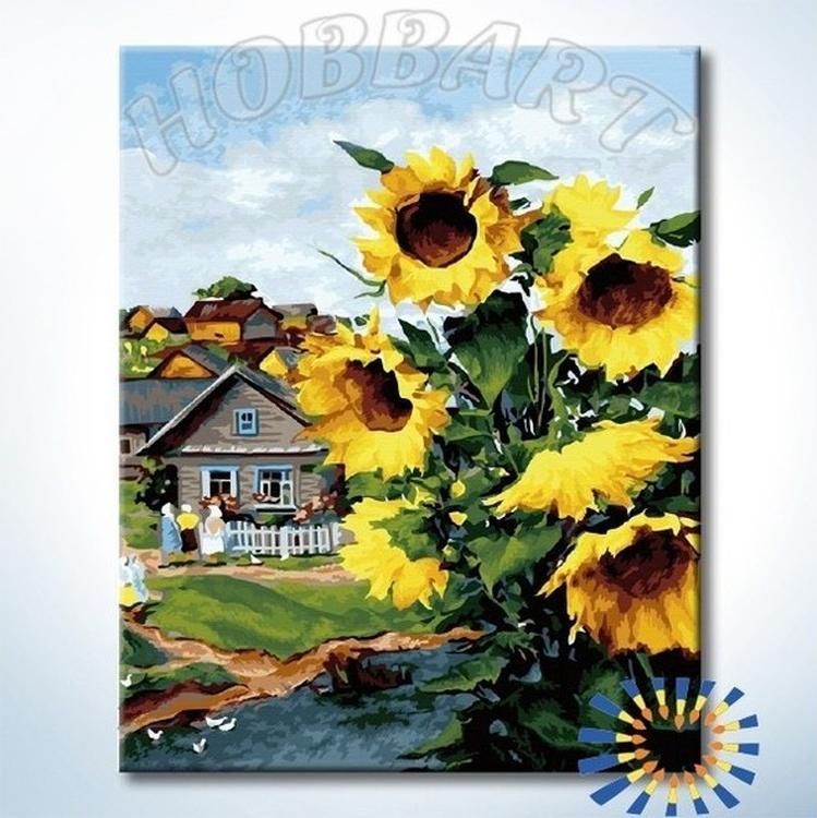 Картина по номерам «Солнечная деревня»Hobbart<br><br><br>Артикул: DZ4050053-Lite<br>Основа: Цветной холст<br>Сложность: сложные<br>Размер: 40x50 см<br>Количество цветов: 29<br>Техника рисования: Без смешивания красок