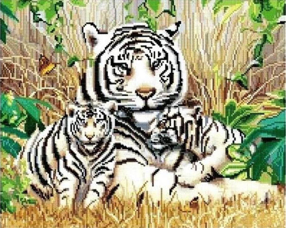 Алмазная вышивка «Белые тигры»Алмазная вышивка Painting Diamond<br><br><br>Артикул: GF1037<br>Основа: Холст на подрамнике<br>Сложность: сложные<br>Размер: 40x50 см<br>Выкладка: Полная<br>Количество цветов: 30-40