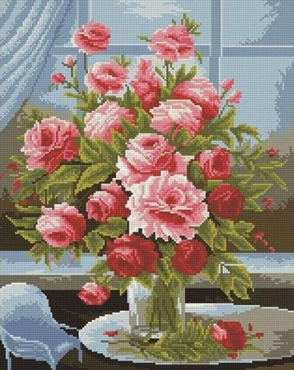 Алмазная вышивка «Розы»Алмазная вышивка Painting Diamond<br><br><br>Артикул: GF1238<br>Основа: Холст на подрамнике<br>Сложность: сложные<br>Размер: 40x50 см<br>Выкладка: Полная<br>Количество цветов: 21