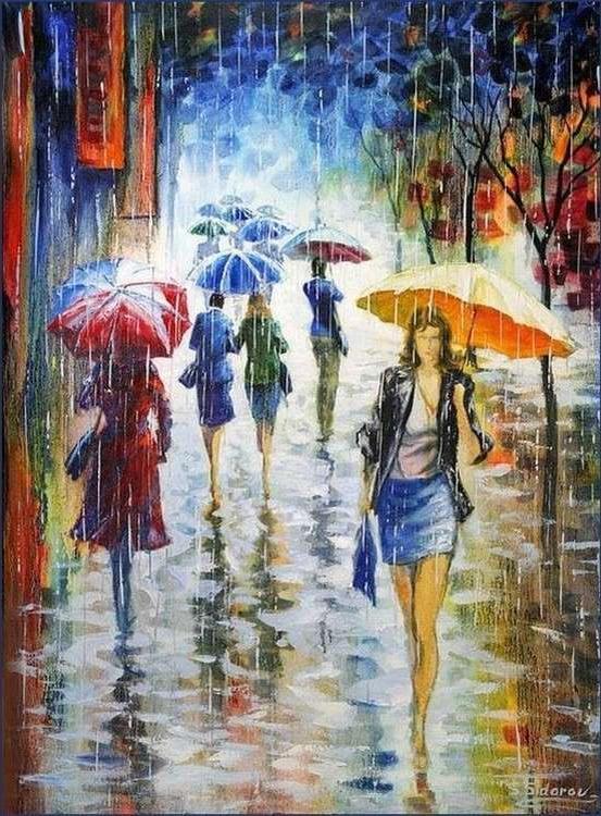 Картина по номерам «Под дождем» Станислава СидороваPaintboy (Premium)<br><br><br>Артикул: GX21148<br>Основа: Холст<br>Сложность: средние<br>Размер: 40x50 см<br>Количество цветов: 25<br>Техника рисования: Без смешивания красок