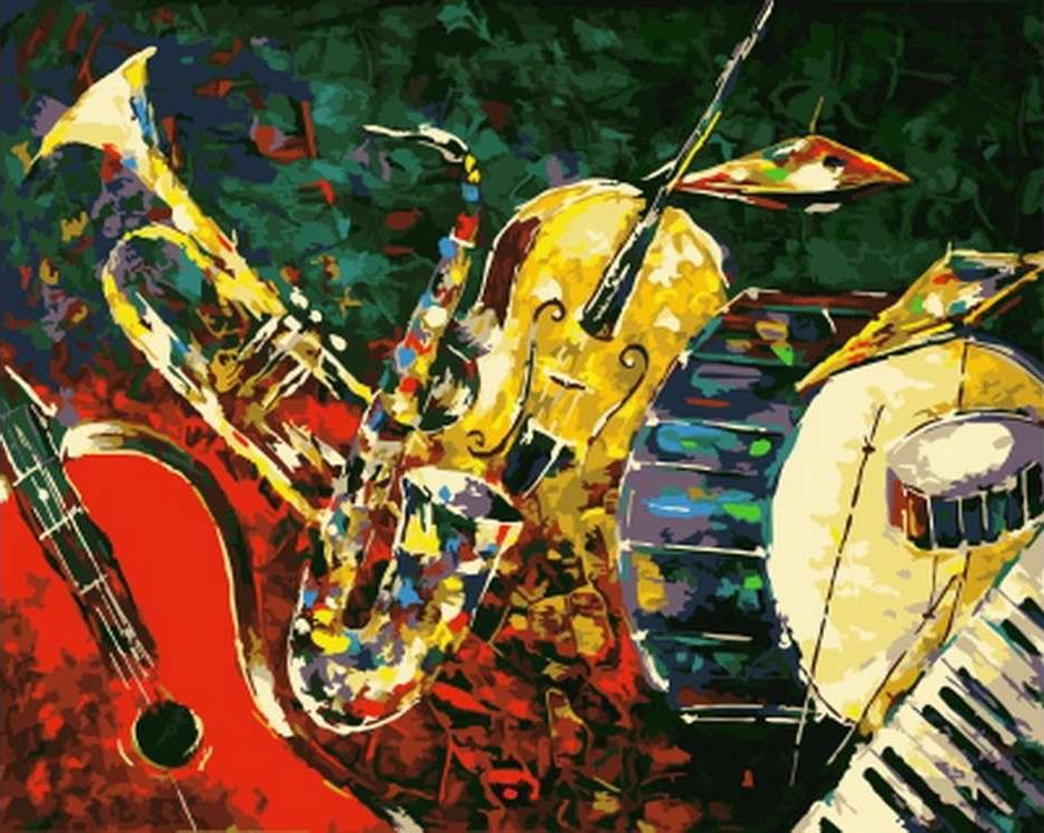 Картина по номерам «Мы из джаза» Николая ПахомоваРаскраски по номерам Paintboy (Original)<br><br><br>Артикул: GX21347_R<br>Основа: Холст<br>Сложность: средние<br>Размер см: 40x50<br>Количество цветов: 23<br>Техника рисования: Без смешивания красок