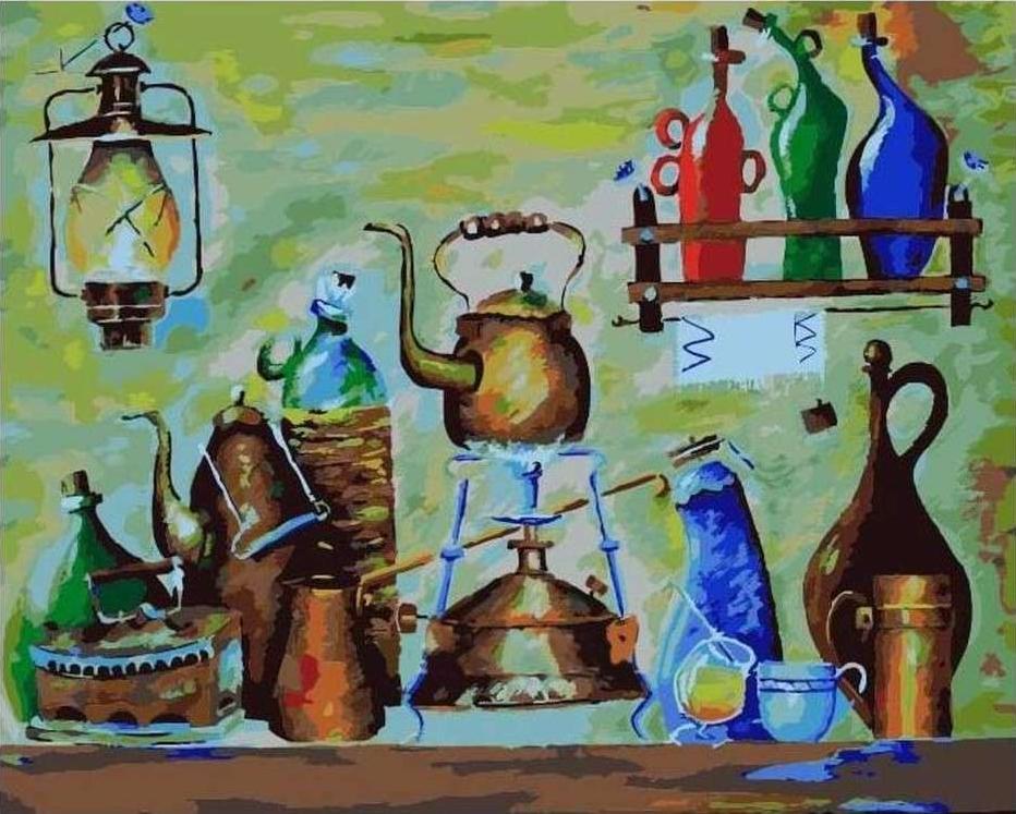 Картина по номерам «Примус, лампа и другие» Николая ПахомоваРаскраски по номерам Paintboy (Original)<br><br><br>Артикул: GX21348_R<br>Основа: Холст<br>Сложность: средние<br>Размер см: 40x50<br>Количество цветов: 26<br>Техника рисования: Без смешивания красок