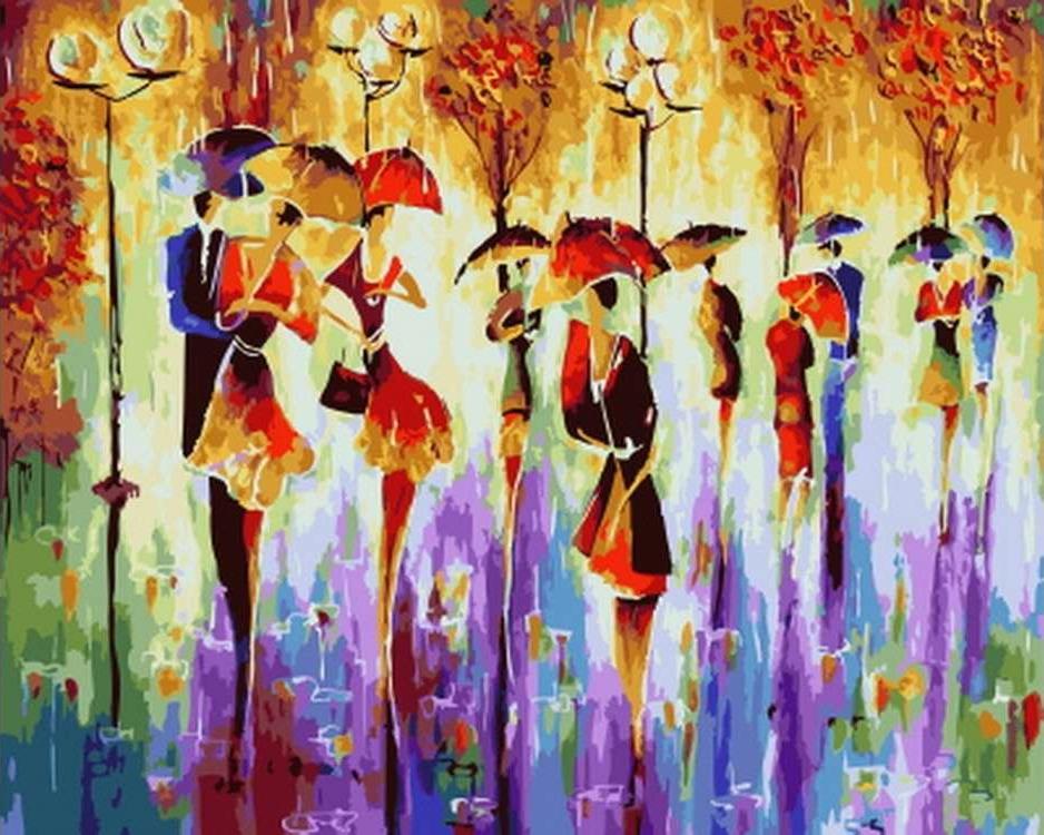 Картина по номерам «Счастливые зонты» Николая ПахомоваРаскраски по номерам Paintboy (Original)<br><br><br>Артикул: GX21400_R<br>Основа: Холст<br>Сложность: сложные<br>Размер см: 40x50<br>Количество цветов: 24-30<br>Техника рисования: Без смешивания красок