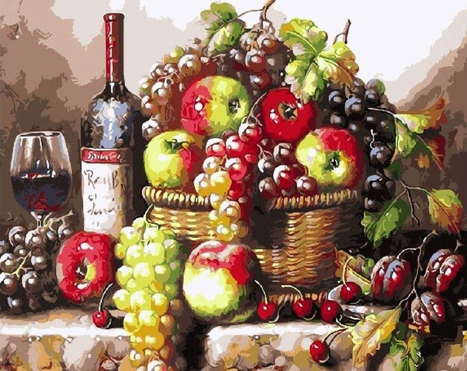 Картина по номерам «Натюрморт с фруктами и вином»Раскраски по номерам<br><br>