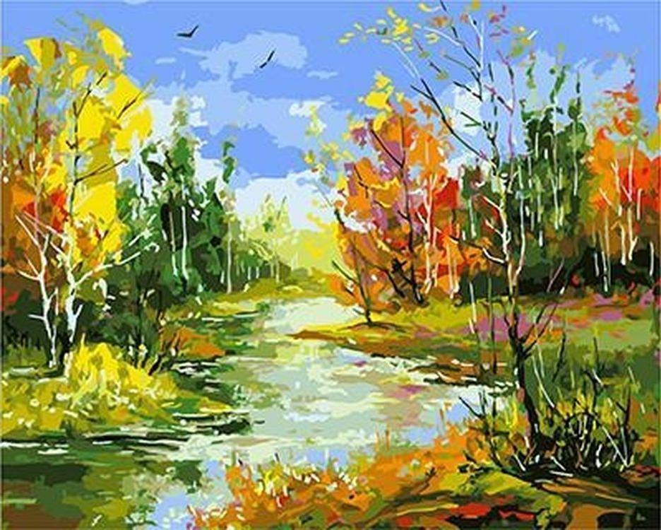 Картина по номерам «Речка в осеннем лесу» Александра Ходюкова