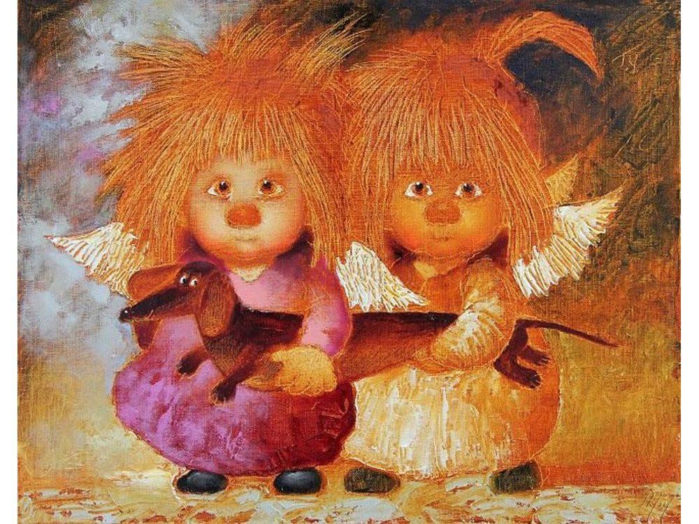 Картина по номерам «Солнечные ангелы с таксой» Галины ЧувиляевойPaintboy (Premium)<br><br>