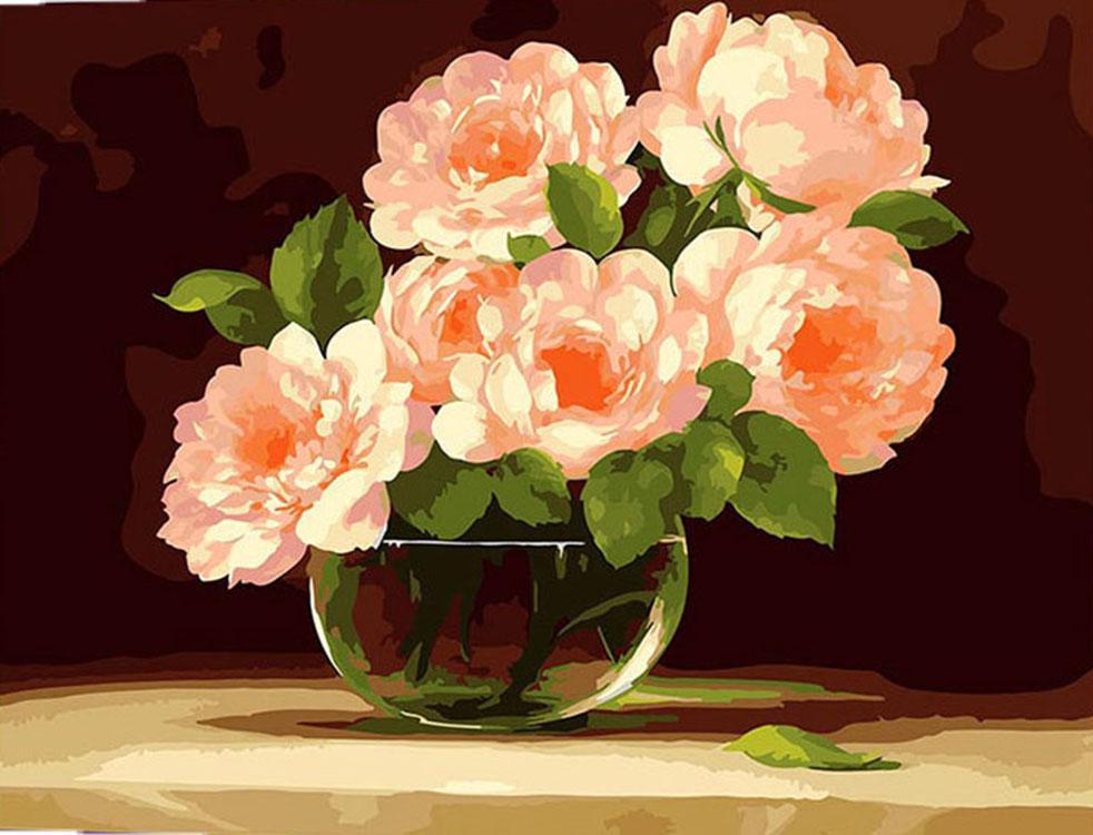 Картина по номерам «В хрустальной вазе» ФасаниMenglei (Premium)<br><br><br>Артикул: MG282<br>Основа: Холст<br>Сложность: сложные<br>Размер: 40x50 см<br>Количество цветов: 25<br>Техника рисования: Без смешивания красок