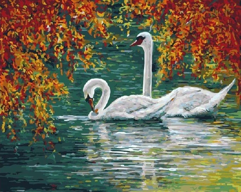 Картина по номерам «Лебеди на осеннем пруду» Энн Мари БонРаскраски по номерам<br><br>