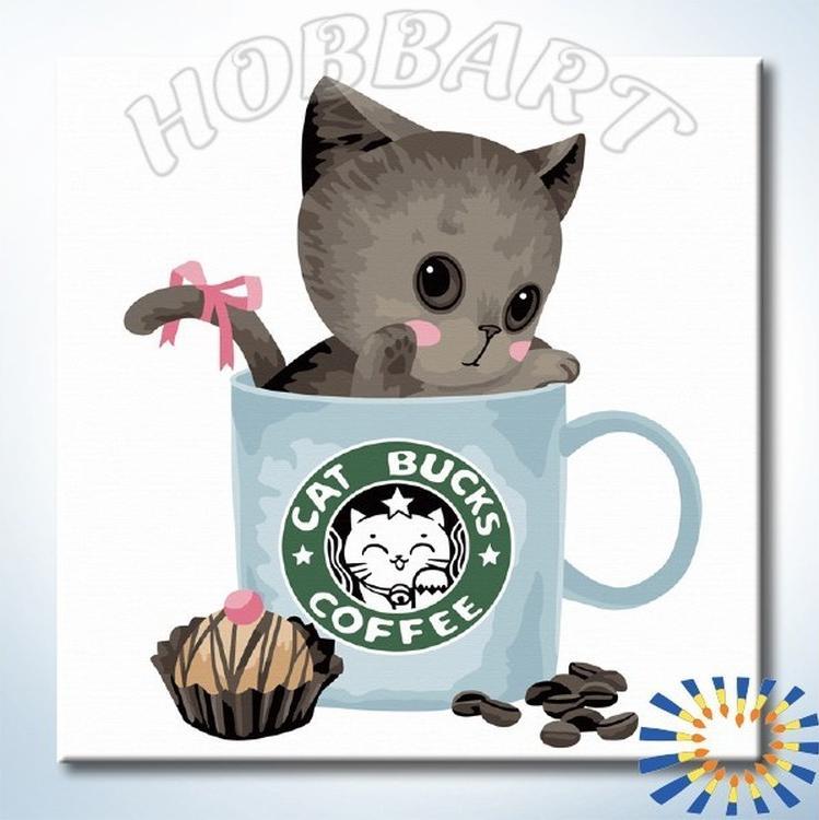 Картина по номерам «Лучший сорт кофе»Hobbart<br><br><br>Артикул: HB2020109-Lite<br>Основа: Цветной холст<br>Сложность: средние<br>Размер: 20x20 см<br>Количество цветов: 16<br>Техника рисования: Без смешивания красок