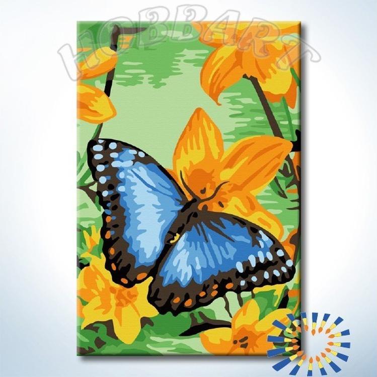 Картина по номерам «Размах синих крыльев»Hobbart<br><br><br>Артикул: HB2030091-Lite<br>Основа: Цветной холст<br>Сложность: средние<br>Размер: 20x30 см<br>Количество цветов: 12<br>Техника рисования: Без смешивания красок