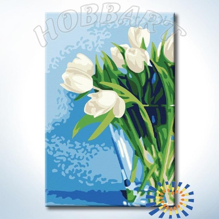 Картина по номерам «Белые тюльпаны»Hobbart<br><br><br>Артикул: HB2030096-Lite<br>Основа: Цветной холст<br>Сложность: средние<br>Размер: 20x30 см<br>Количество цветов: 13<br>Техника рисования: Без смешивания красок