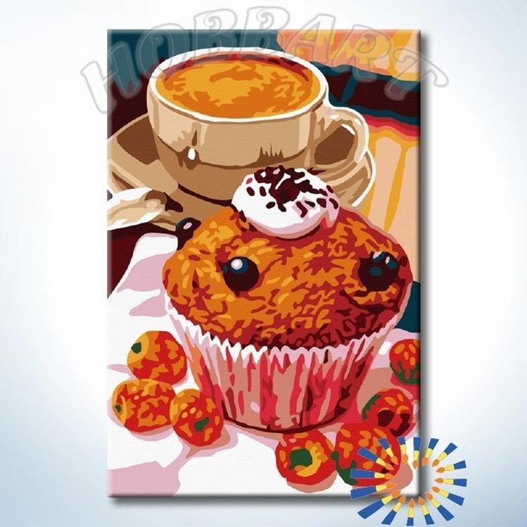 Картина по номерам «Десерт в кофейне»Hobbart<br><br><br>Артикул: HB2030104-Lite<br>Основа: Цветной холст<br>Сложность: средние<br>Размер: 20x30 см<br>Количество цветов: 18<br>Техника рисования: Без смешивания красок