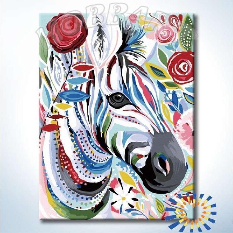 Картина по номерам «Красочная зебра» Старлы МишельHobbart<br><br><br>Артикул: HB3040168-Lite<br>Основа: Цветной холст<br>Сложность: средние<br>Размер: 30x40 см<br>Художник: Старла Мишель<br>Количество цветов: 26<br>Техника рисования: Без смешивания красок