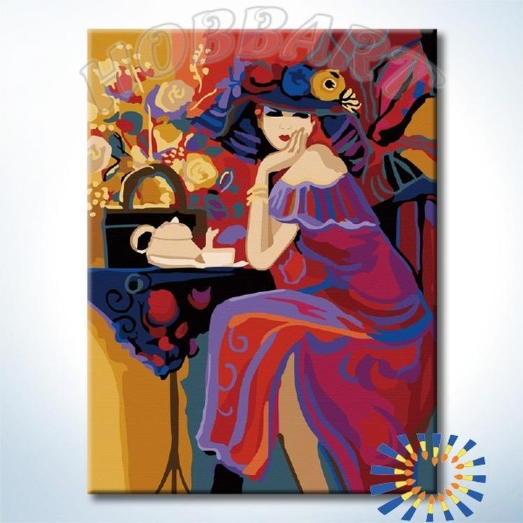 Картина по номерам «Дама за соседним столиком»Hobbart<br><br><br>Артикул: HB3040170-Lite<br>Основа: Цветной холст<br>Сложность: средние<br>Размер: 30x40 см<br>Количество цветов: 24<br>Техника рисования: Без смешивания красок