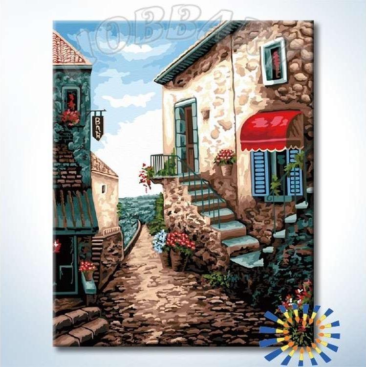 Картина по номерам «Улица у моря»Hobbart<br><br><br>Артикул: HB4050269-Lite<br>Основа: Цветной холст<br>Сложность: сложные<br>Размер: 40x50 см<br>Количество цветов: 28<br>Техника рисования: Без смешивания красок