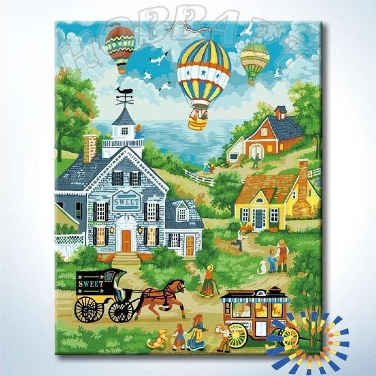 Картина по номерам «Над деревней»Hobbart<br><br><br>Артикул: HB4050300-Lite<br>Основа: Цветной холст<br>Сложность: очень сложные<br>Размер: 40x50 см<br>Количество цветов: 23<br>Техника рисования: Без смешивания красок